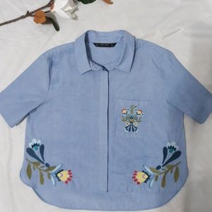 Zara Floral Embroidery Collared Top size M